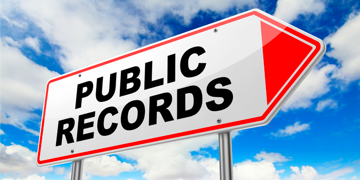 public records - a large signs that says public records