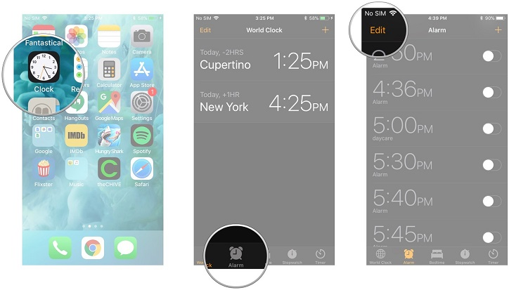 set alarm on iPhone