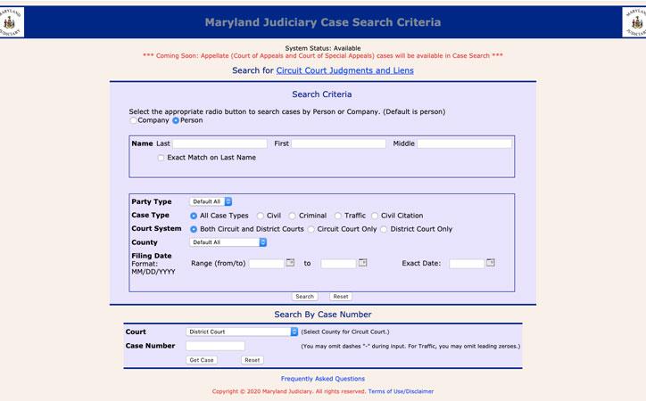 Maryland 2020 public records