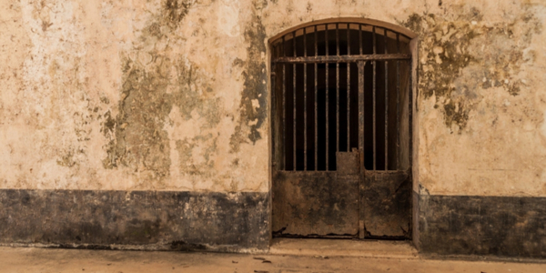 entrance to a colonial prison