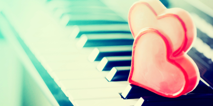 Most popular love songs - two heart on a piano