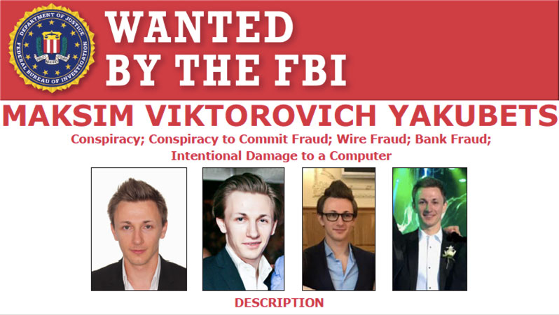 Most Wanted Fugitives by the FBI Maksim viktorovich yakubets