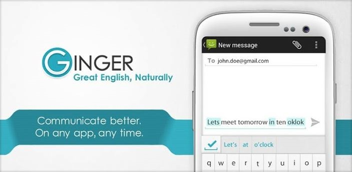 Ginger spell check app