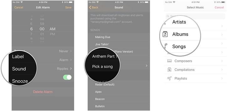 set alarm sound iPhone