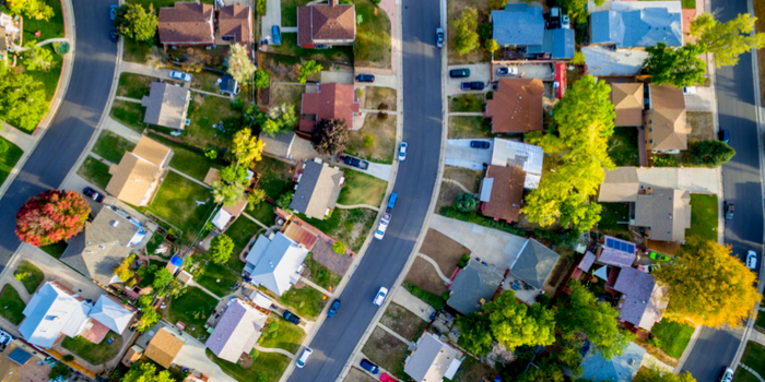 safest neighborhoods in the United States - a view from above of a neighborhood