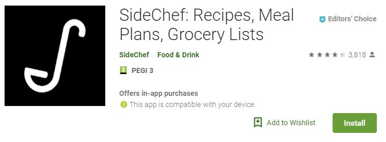 SideChef app that lets you enter ingredients