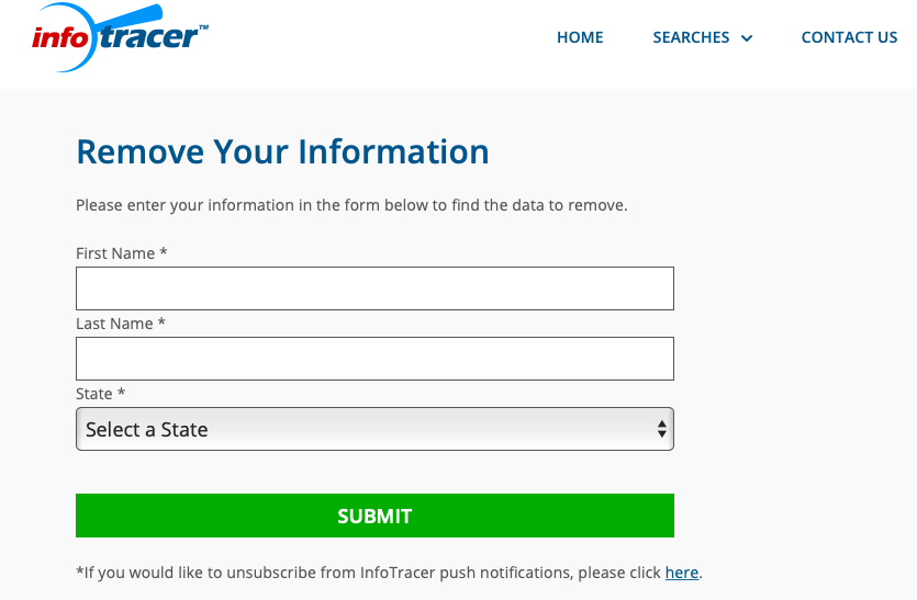 InfoTracers Opt Out