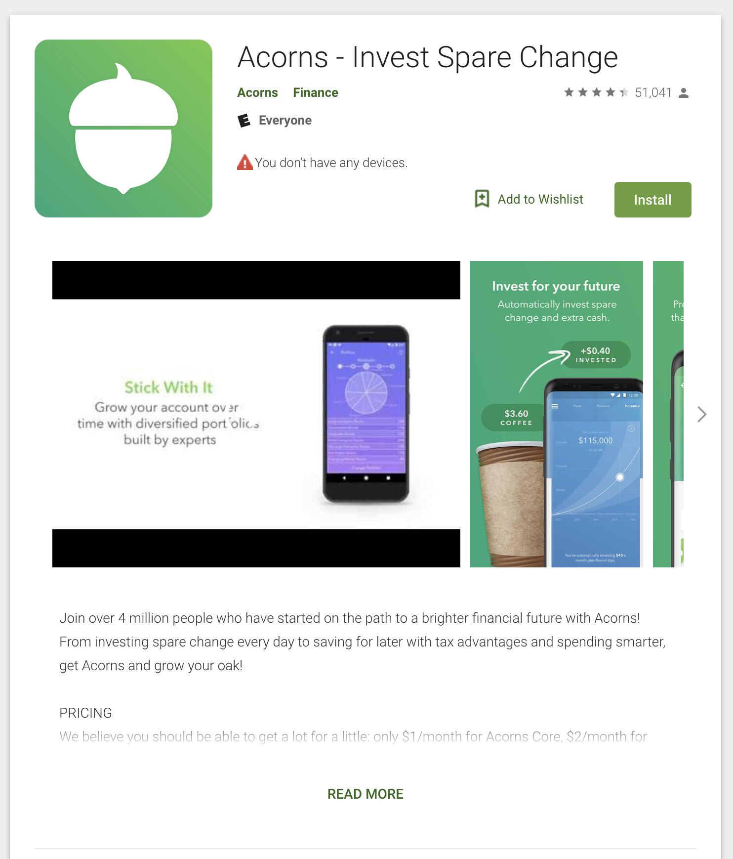 acorns saving app
