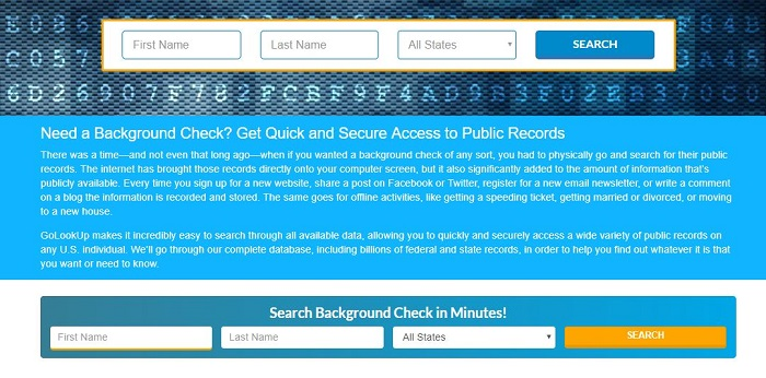 why people run background checks - a screenshot of a GoLookUp background check