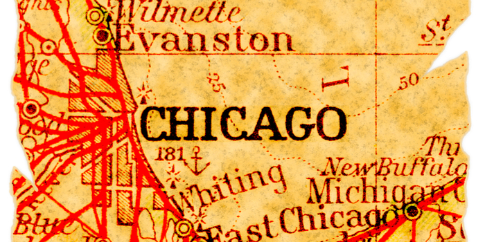 weather Chicago - an old map of Chicago