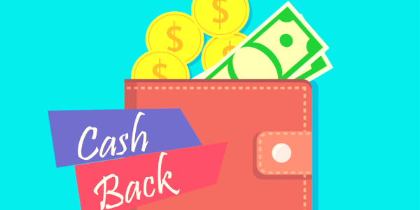 an illustration of a wallet with benners that say cash back