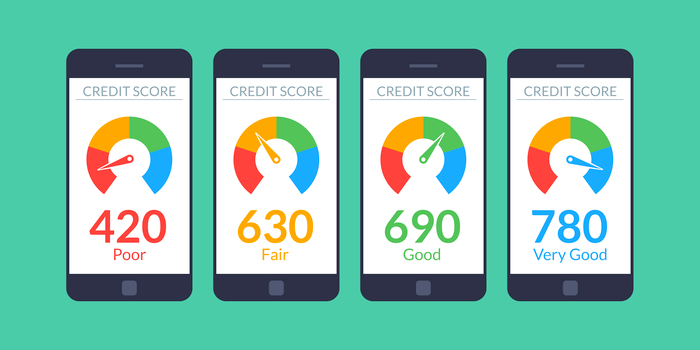 signs of identity theft - illustration if credit scores on phone screens