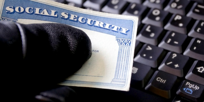 identity theft stats gloved hand holding a social security card