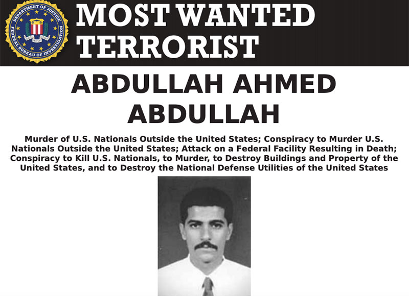 Most Wanted Terrorists by the FBI abdullah ahmed abdullah