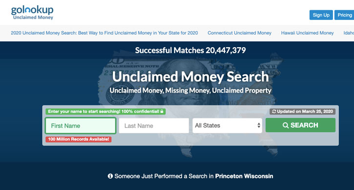 GoLookup Unclaimed Money