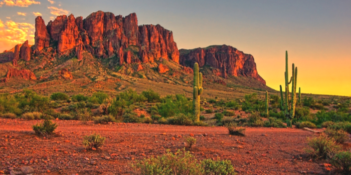 Phoenix Arizona - desert mountains in the sunset