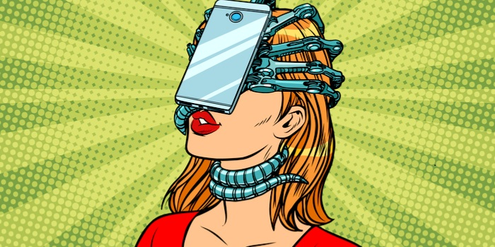 social media negative effects - an illustration of a woman with a phone strapped to her face