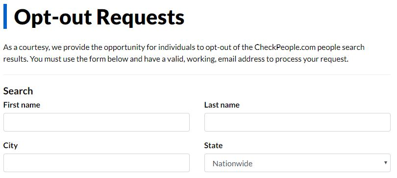 CheckPeople opt out form