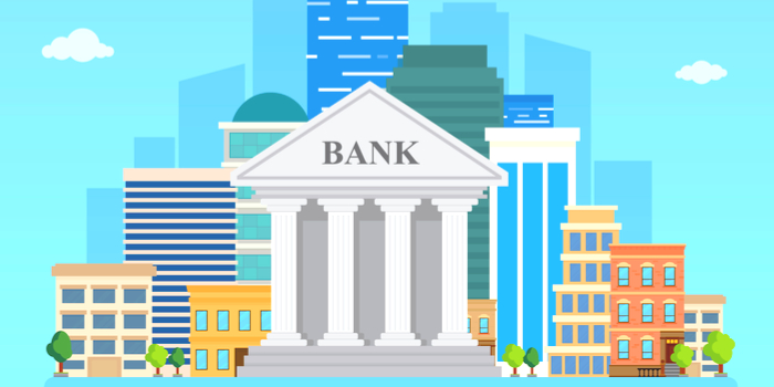 unclaimed money - an illustration of a bank and other buildings around it